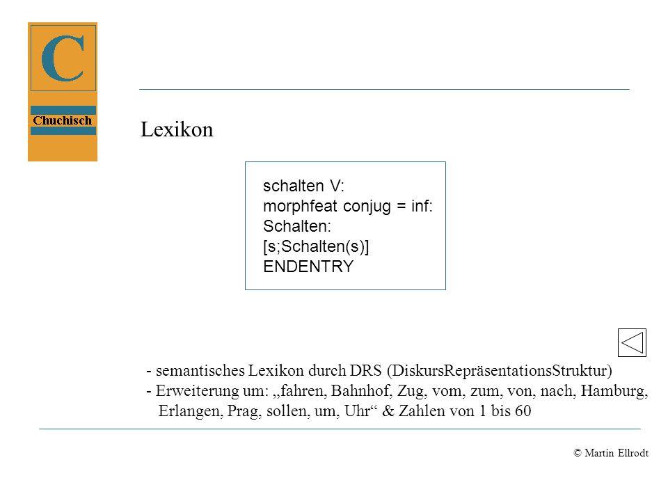 Lexikon schalten V: morphfeat conjug = inf: Schalten: [s;Schalten(s)]